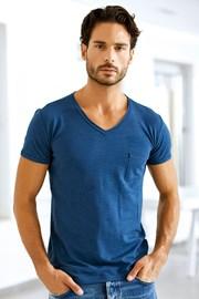 Męski T-shirt włoskiej marki Enrico Coveri 1512 Oceano