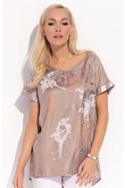 Luksusowa damska bluzka z krótkimi rękawami Kloe Brown