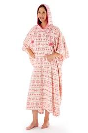 Damskie poncho domowe Hearty Winter Pink