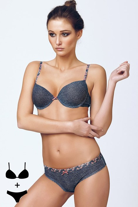 Komplet: biustonosz Push-Up i figi 4374 Blue