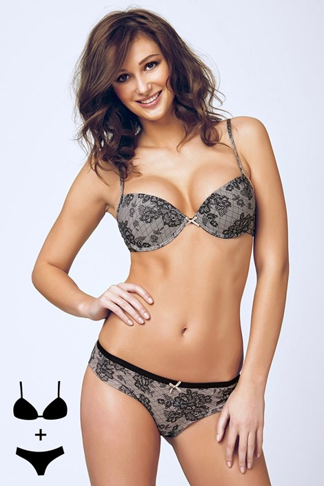 Komplet: biustonosz Push-Up i figi 4374 Black