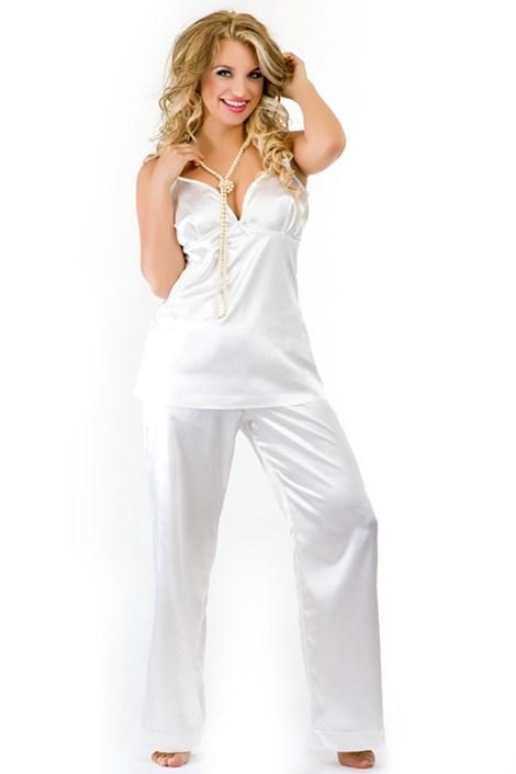 Luksusowa satynowa piżama Haiti Ecru
