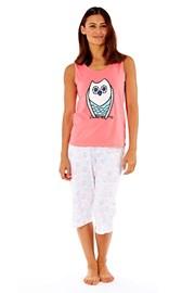 Damska piżama bawełniana Owl Coral