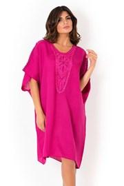 Włoska lniana sukienka letnia David Beachwear Fuksja