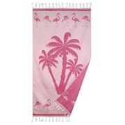 Koc plażowy Palmier różowy