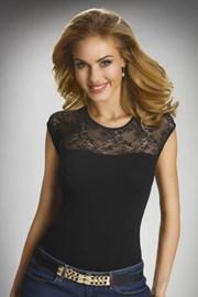 Elegancka damska bluzka z krótkimi rękawami i koronką Paulina