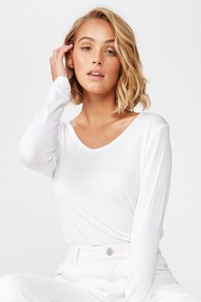 Damska bluzka basic z długim rękawem Karly biała