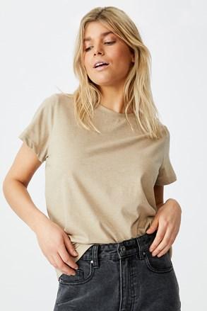 Damski T-shirt basic z krótkimi rękawami Crew beżowy