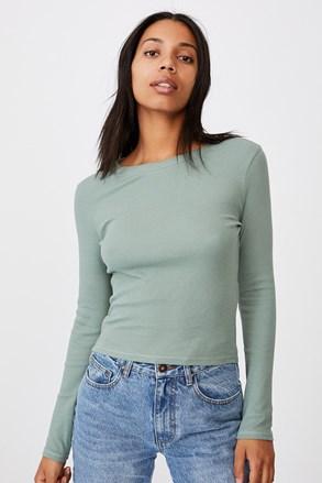 Damski T-shirt basic z długimi rękawami Turn zielony