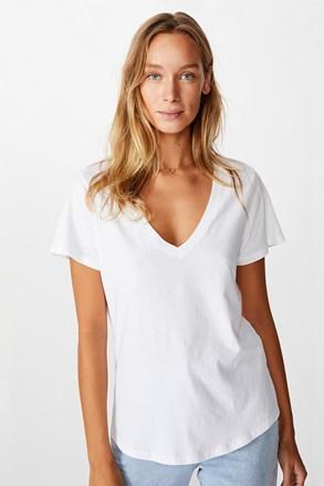Damski T-shirt basic z krótkimi rękawami One biały