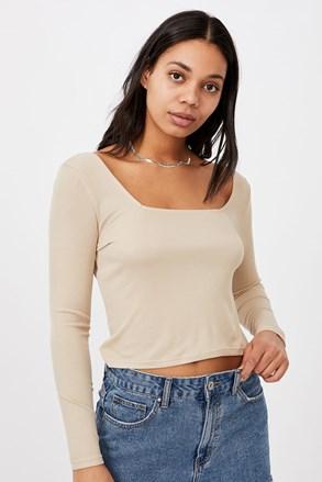Damski T-shirt basic z długimi rękawami Serena beżowy