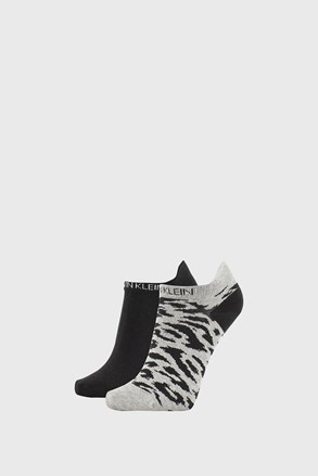 2 PACK damskich skarpetek Calvin Klein Libby szaro-czarne