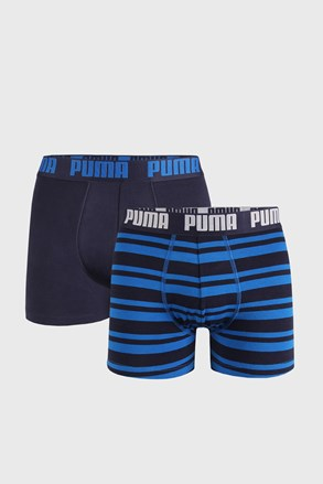 2 PACK niebieskich bokserek Puma Heritage Stripe