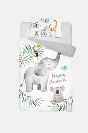 Bambusowa pościel do łóżeczka dziecięcego Happy Animals