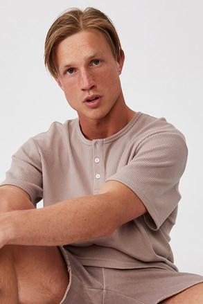 Brązowy T-shirt z krótkim rękawem Henley