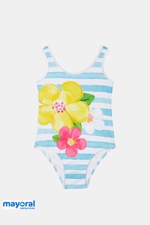 Jednoczęściowy dziewczęcy kostium kąpielowy Mayoral biało-niebieski