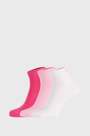 3 PACK różowych skarpetek Puma Quarter Plain
