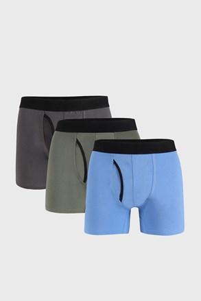 3 PACK niebiesko-szarych bokserek Organic Cotton