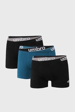 3 PACK niebiesko-czarnych bokserek Umbro