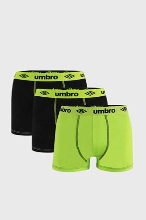 3 PACK czarno-zielonych bokserek Umbro BIO