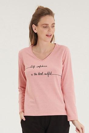 Różowy damski T-shirt z długimi rękawami