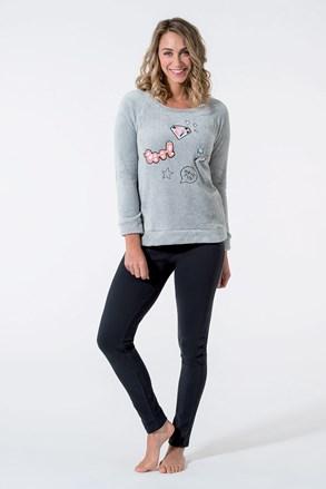 Ciepła damska piżama BAdge szara