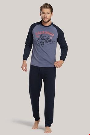 Niebieska męska piżama z napisem