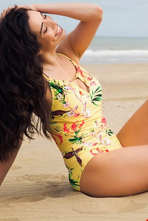 Jednoczęściowy damski kostium kąpielowy Yellow Exotic