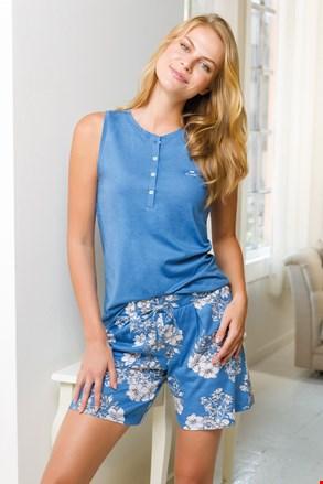 Damski krótki komplet piżamowy niebieski