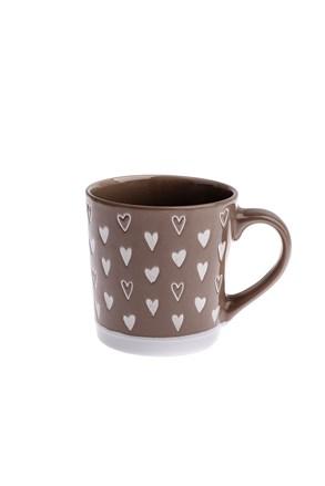 Ceramiczny kubek Serce - brązowy 450 ml