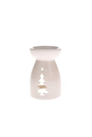 Porcelanowy kominek do aromaterapii - z choinką
