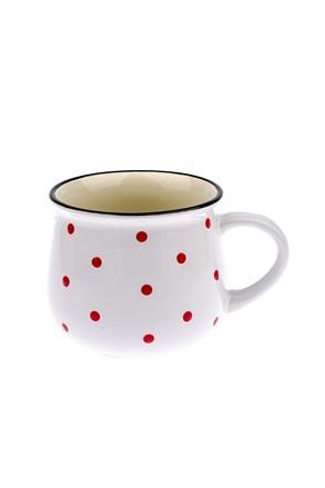 Duży ceramiczny kubek w kropki - biały 770 ml