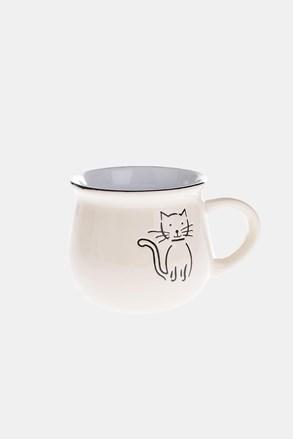 Ceramiczny kubek z kotem beżowy 368 ml