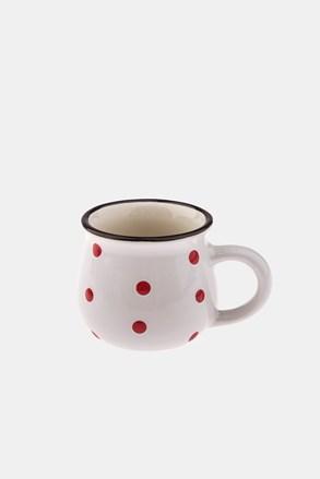 Ceramiczny kubek w kropki biały 75 ml