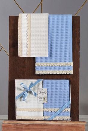 Komplet prezentowy waflowych ścierek niebieski