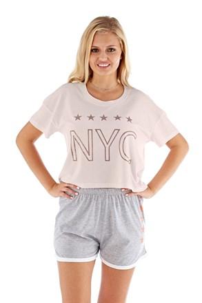 Damska piżama NYC różowa