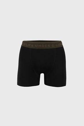 Czarne bokserki ELKA LOUNGE z gumką khaki