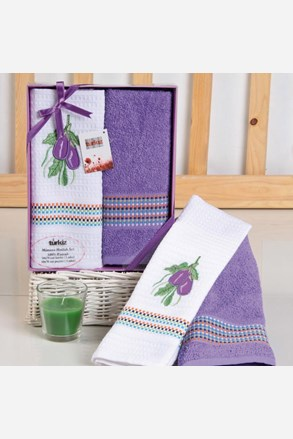 Prezentowy komplet: ręcznik i ścierka Mimosa lilak