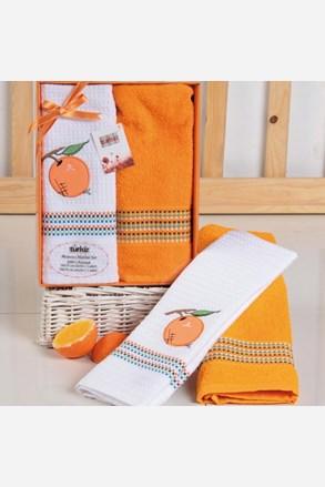 Komplet prezentowy: ręcznik i ścierka kuchenna Mimosa pomarańczowy