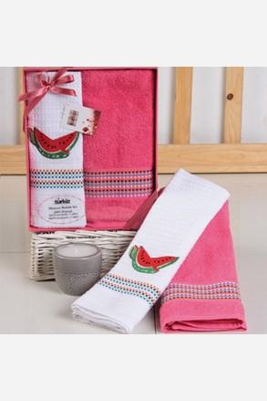 Komplet prezentowy: ręczniki i ścierki kuchenne Mimosa arbuz