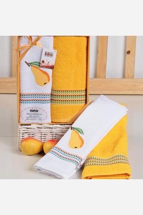 komplet prezentowy: ręcznik i ścierka Mimosa gruszka