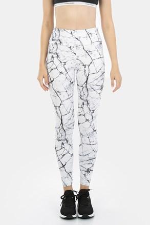 Damskie wzorzyste legginsy Marble White