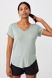 Damski T-shirt basic z krótkimi rękawami Karly jasnozielony