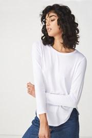 Damski T-shirt basic z długimi rękawami Kathleen biały
