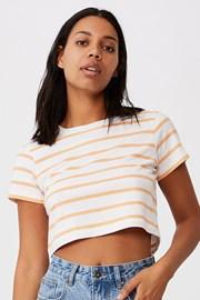 Damski bawełniany T-shirt basic z krótkim rękawem Baby w paski