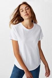 Damski T-shirt basic z krótkimi rękawami Crew biały