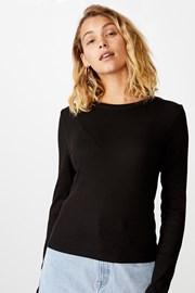 Damski T-shirt basic z długimi rękawami Turn czarny