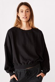 Damska bluza sportowa Cleo Balloon Oversized czarna