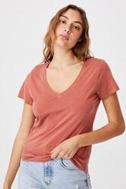 Damski T-shirt basic z krótkimi rękawami One ceglany