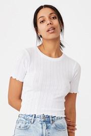 Damski T-shirt z krótkimi rękawami Pointelle Crop biały